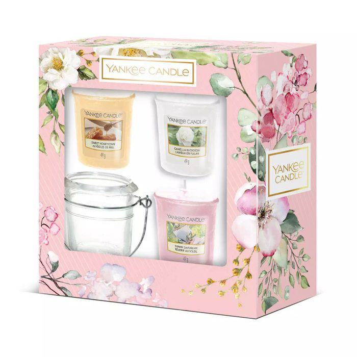 Yankee Candle-Votive Scented Candles and Bucket Candle Holder Gift Set