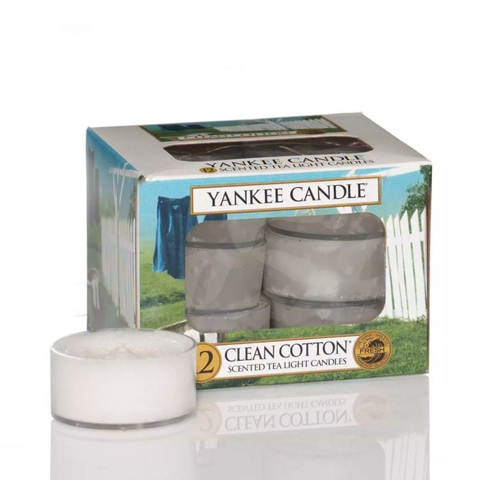 CHEAP! Yankee Candle-Pack of 12 'Clean Cotton' Scented Tea Light Candles
