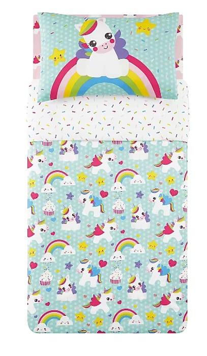Unicorn Print Easy Care Reversible Duvet Set - Toddler