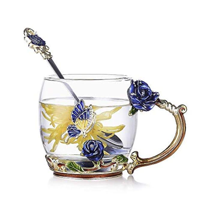 Evecase Enamels Butterfly Flower Clear Lead-Free Glass Coffee Mugs