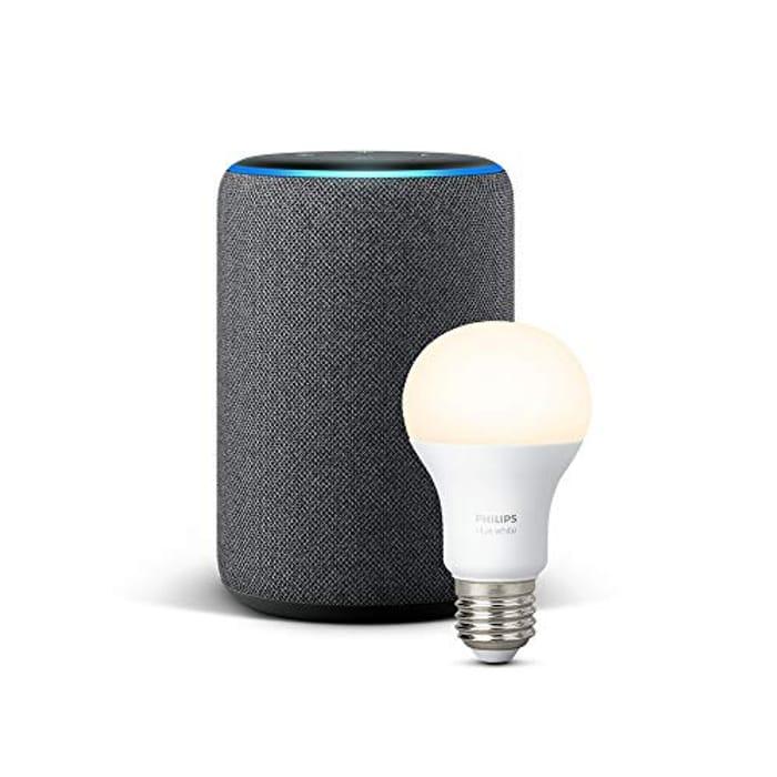 Echo plus (2nd Gen), Charcoal Fabric + Philips Hue White Bulb E27