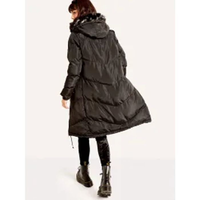 Black Chevron Maxi Puffer Coat
