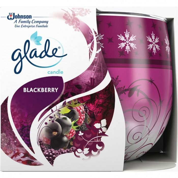 GLADE FRAGRANCE CANDLE BLACKBERRY , RELAXING ZEN or HONEY Choc 120gr