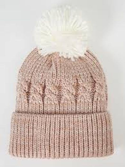 Grey/Pink Cable Knit Bobble Hat