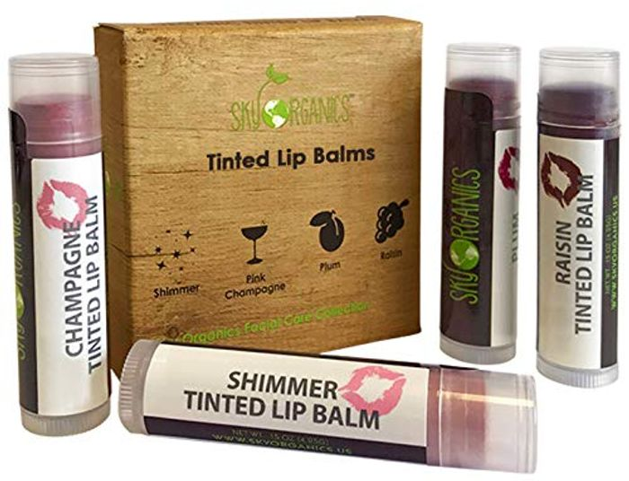 Special Offer! Organic Tinted Lip Balm by Sky Organics - 4 Pack