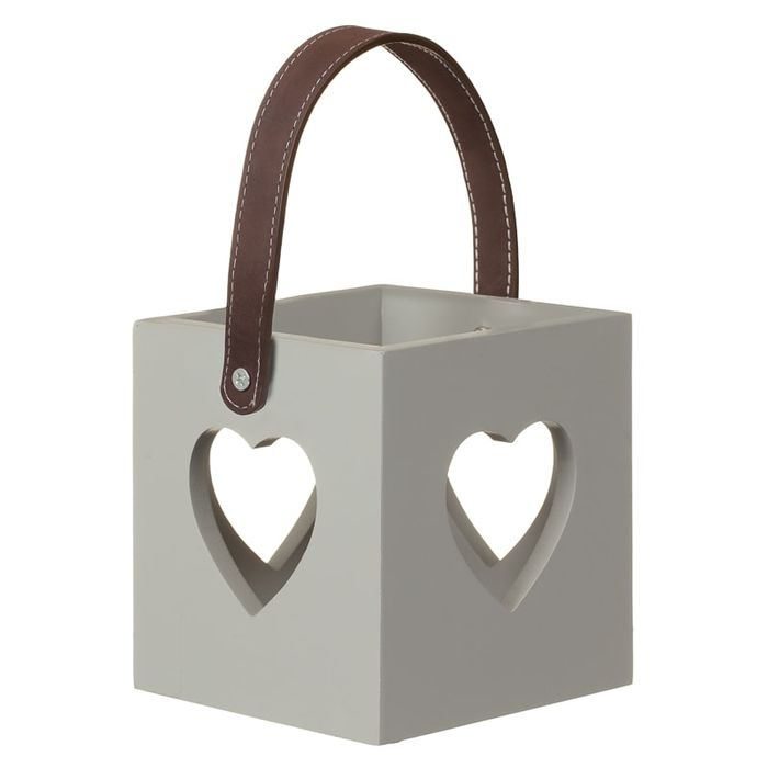 Heart Cutout Wooden Lantern - Grey