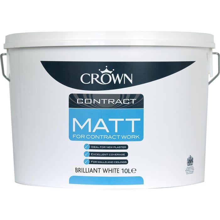 Crown Contract Matt Emulsion Paint 10L Brilliant White