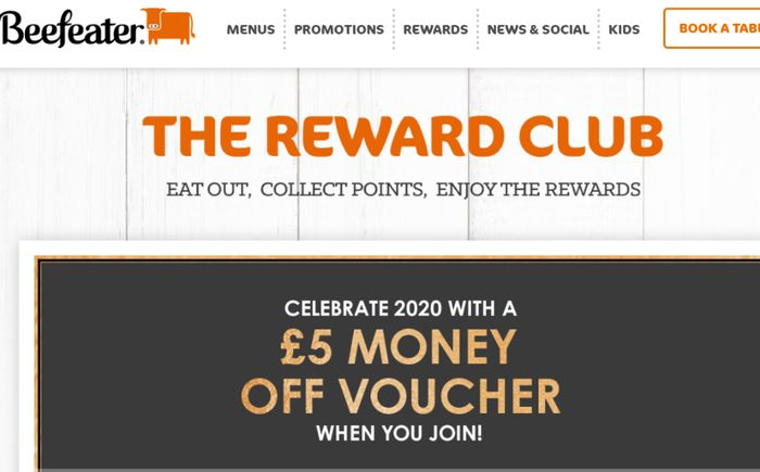 Join The Beefeater FREE Rewards Club, The Club With More Bite & GET £5 FREE!