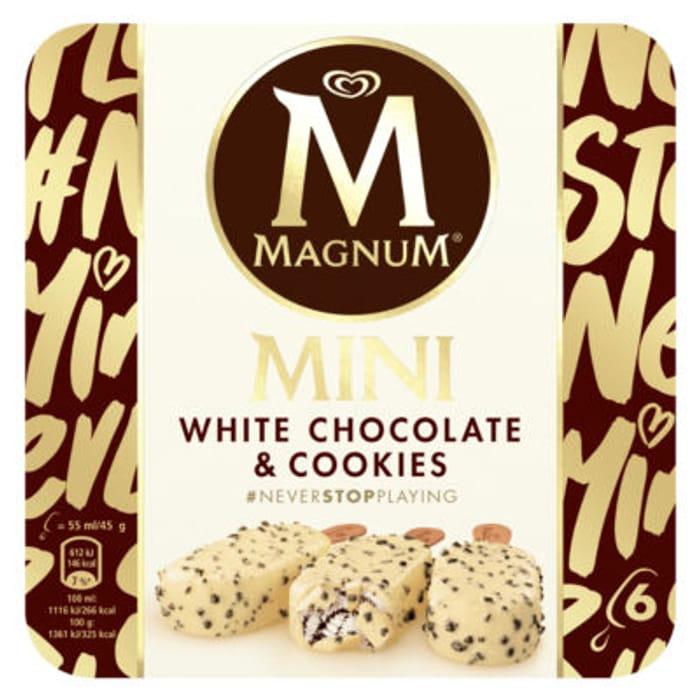 Magnum 6 Mini White Chocolate & Cookies Ice Creams