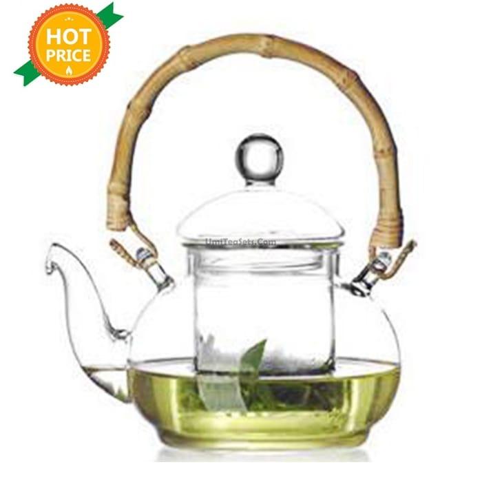 Handmade Bamboo Handle Glass Teapot