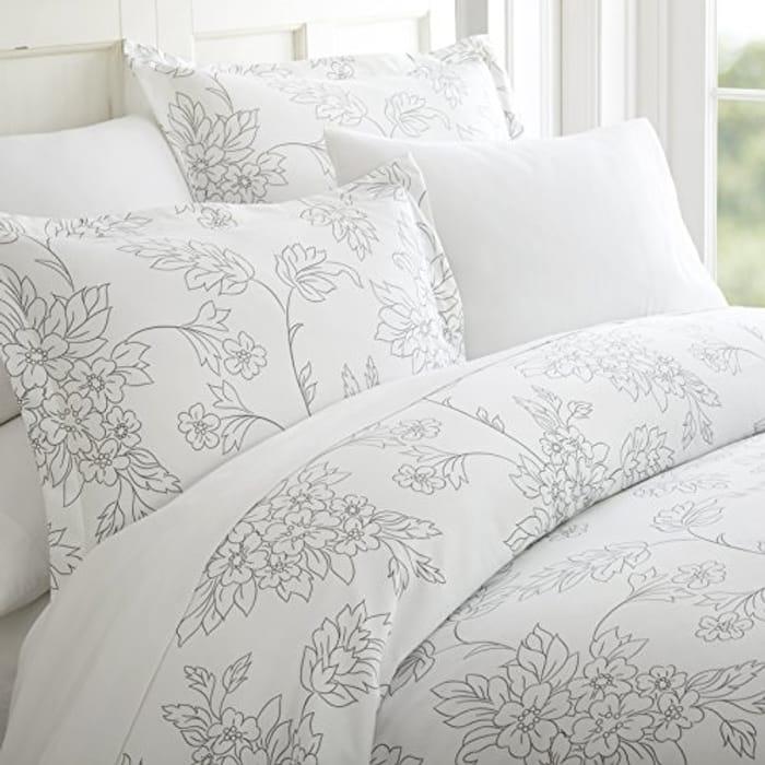 Simply Soft Duvet Cover Set Vines Gray King