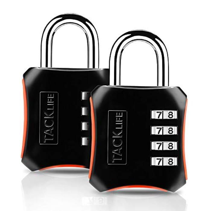 Combination Lock, Tacklife HCL3B Padlock - [2 Pack] 4 Digit Lock