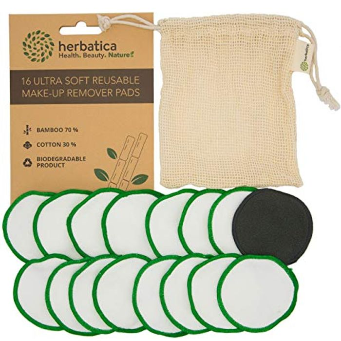 Reusable Make up Pads - Pack of 16 Reusable Cotton Pads with Laundry Bag