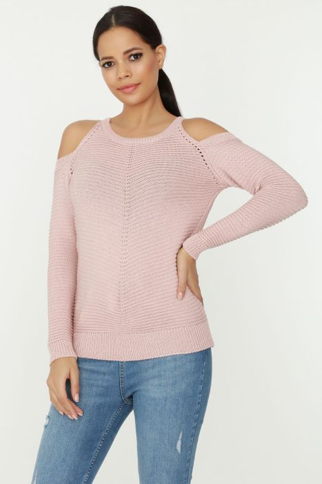Nude Cut out Sleeve Stitch Jumper