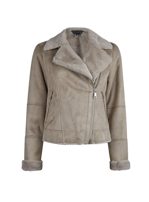 Taupe Soft Shearling Biker Jacket Was £49 Now £25