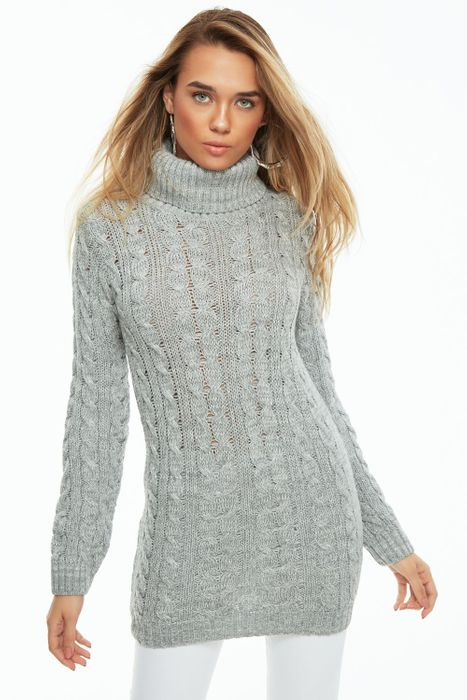 Grey Cable Roll Neck Tunic - Save £6.00
