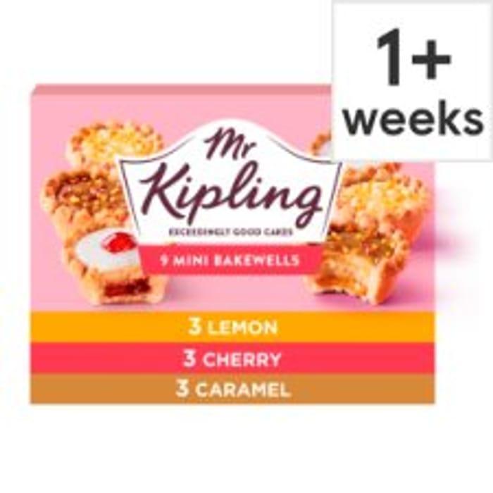 New Mr Kipling Mini Bakewell or Fruit Pie Selection 9 Pack Buy 2 for £3.00