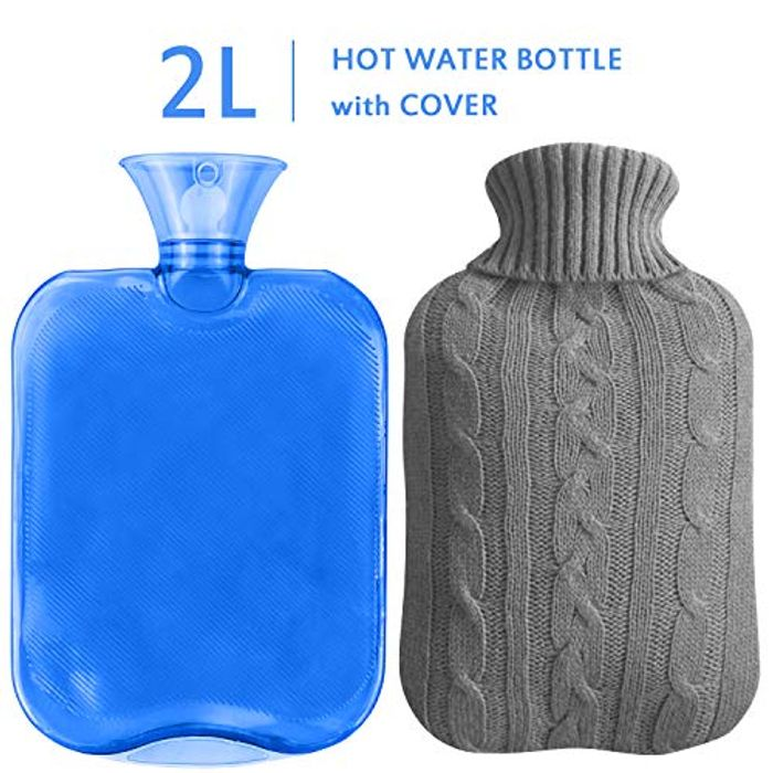 70% off 2L Hot Water Bottle with Knit Cover for Pain Relief