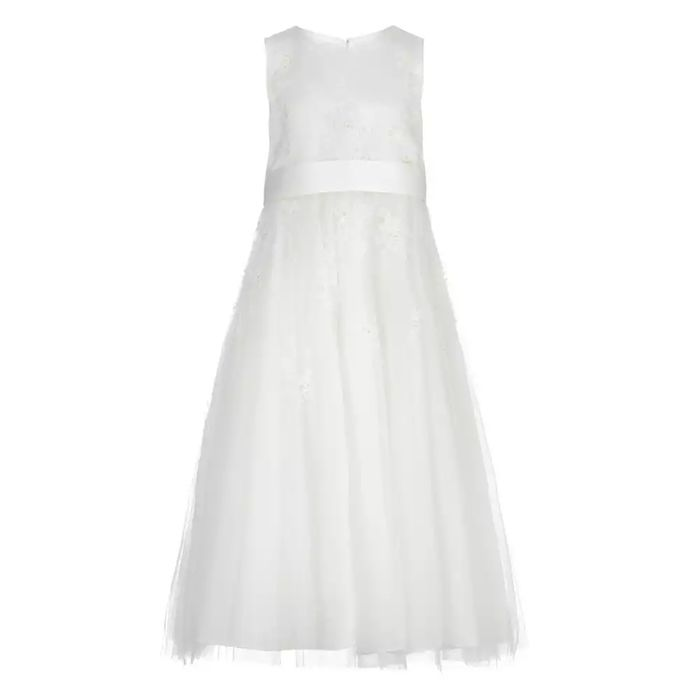 Girls' Ivory Floral Embroidered Dress