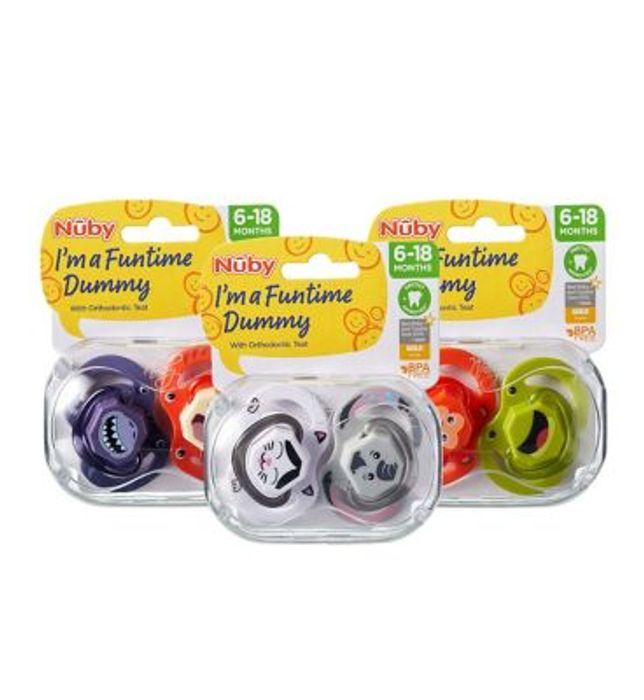 Nuby Funtime Dummy with Orthodontic Teat Twin Pack 6-18 Months