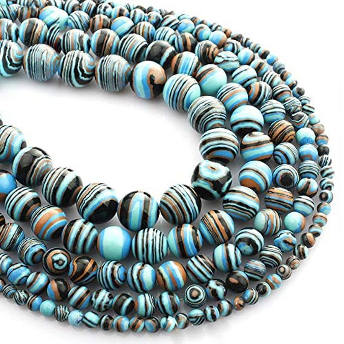 Febelle Natural Blue Malachite Gemstone Loose Beads FREE DELIVERY