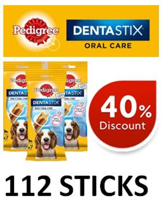 Pedigree Dentastix - MEDIUM DOG Treats (112 Sticks) - save £11.30