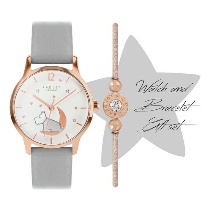 Radley Star Moon Grey Leather Strap Watch & Bracelet Set