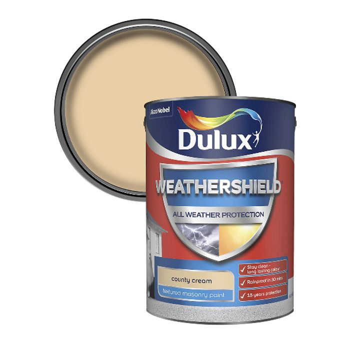 Dulux Weathershield County Cream Textured Matt Masonry Paint 5L