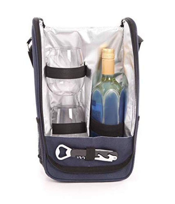 Wine Cooler Bag with Two Beautiful Triton Stemless Glasses