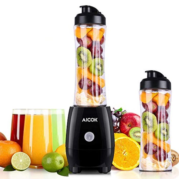 Personal Blender Aicok Smoothie Blender with BPA-Free Travel Sport Bottle.