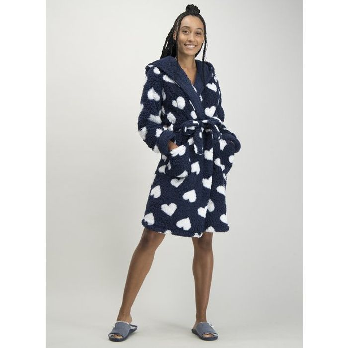 Navy & White Heart Print Dressing Gown XXL Only