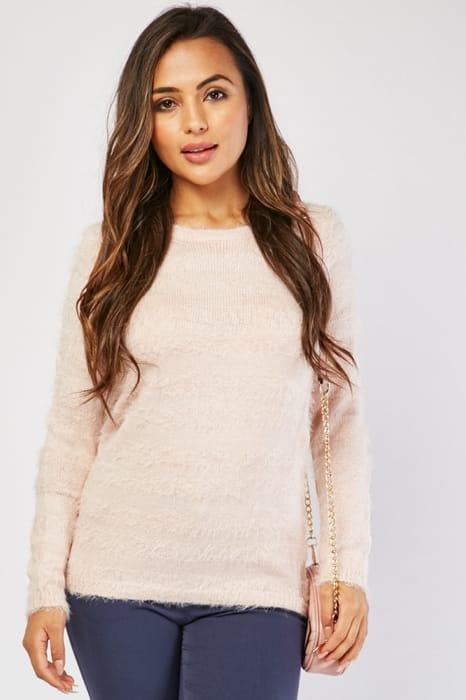 Eyelash Knitted Pink Jumper