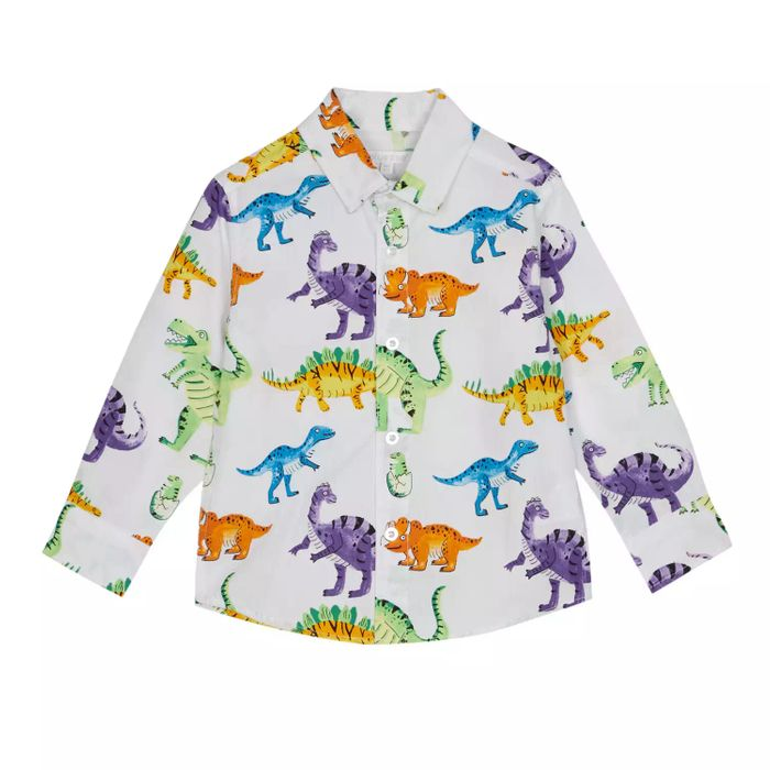 Boys' White Dinosaur Print Cotton Long Sleeve Shirt