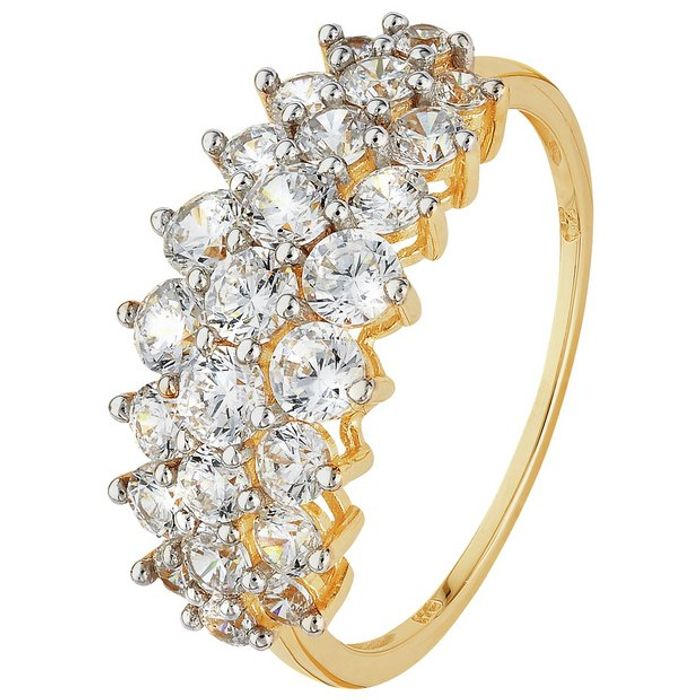 Revere 9ct Yellow Gold CZ Elongated Cluster Ring