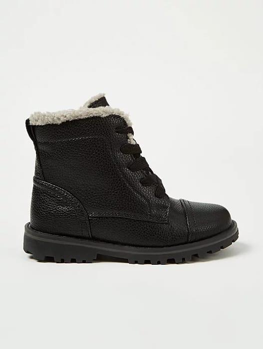 Black Lace up Faux Fur Trim Boots - HALF PRICE