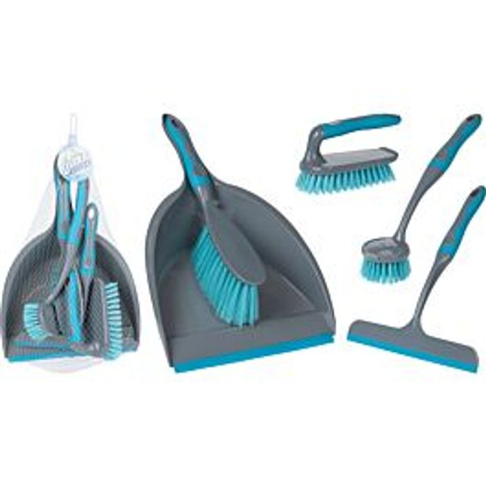 Koopman 5 Pieces Cleaning Set - Turquoise - Only £3.50