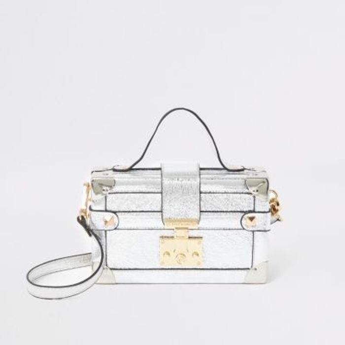 Silver Lock Front Trunk Cross Body Bag Better than Half Price