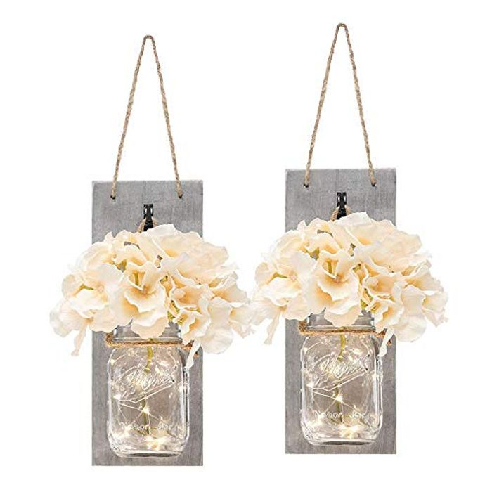 2 Packs Vintage Mason Jar Wall Light with Artificial Flower