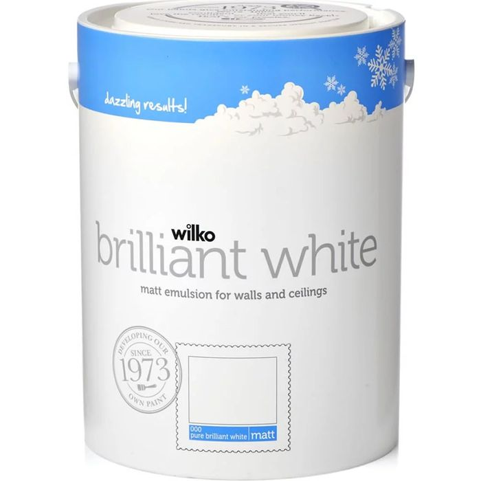 Wilko Pure Brilliant White Matt or Silk Emulsion Paint 5L