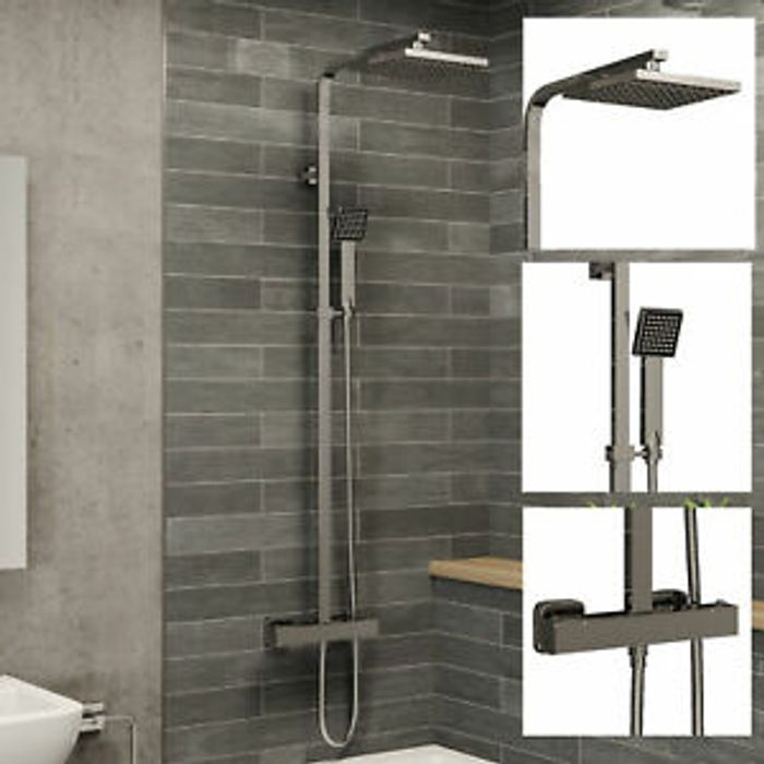 CHEAP! Thermostatic Shower Mixer Square Chrome Bathroom Exposed Twin Valve Set