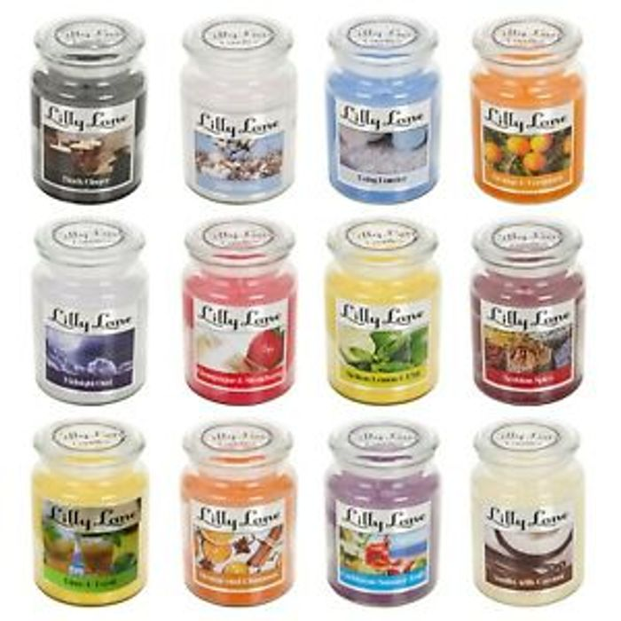 Lilly Lane 18oz Large Scented Jar Candles 75 Hour Burn Time 3 For £14.98!