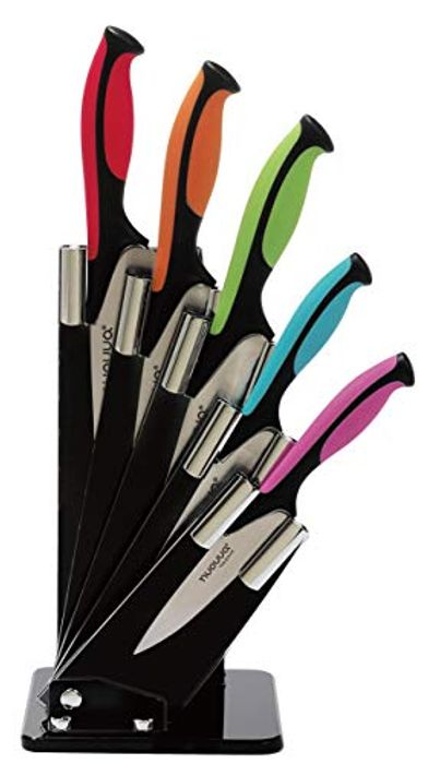 Kitchen Knife Block Set with Colour Coding - 6 Piece