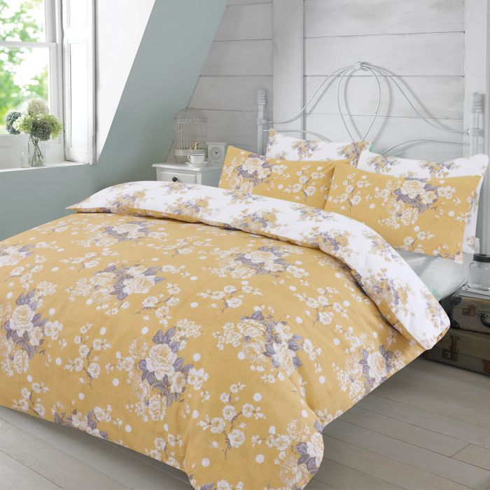 Duvet Set with 2 Pillowcases Ochre Yellow Double £8.99 (P&p £1.99)