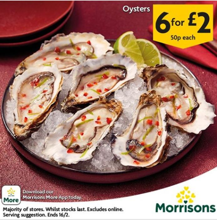 Fresh Oysters For Valentines- 50p Each Or 4 for £2 - 33p Each!