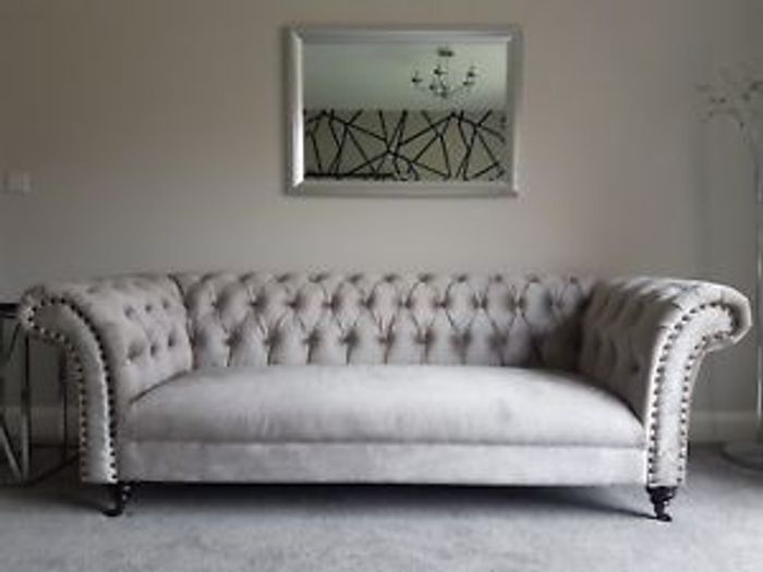 Chelsea CHESTERFIELD Luxury Metallic Putty Velvet Sofa Suites Couch 3 2 Seater