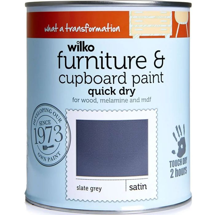 Wilko Slate Grey Quick Dry Satin Furniture and Cup Board Paint 750ml