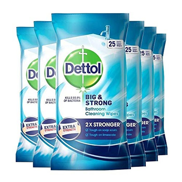 6 Packs Dettol Big and Strong Bathroom Wipes