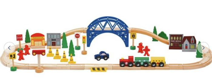Cheap Chad Valley Wooden Train Set - 60 Piece, Only £8!