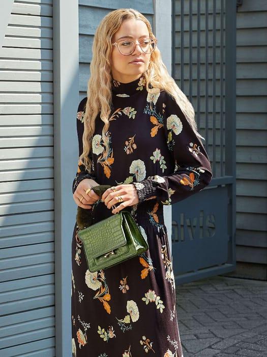 Warehouse Floral Shirred Neck Midi Dress, Size 12