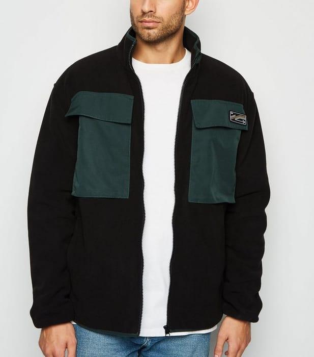 Black Double Front Pocket Fleece Jacket